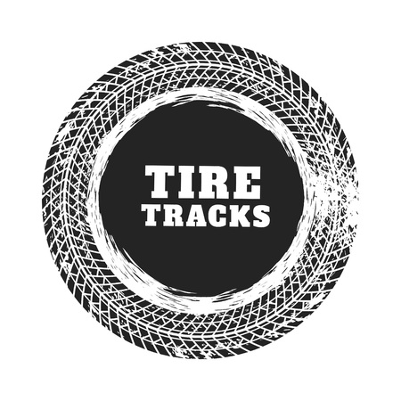tire track circle background design Ilustracja