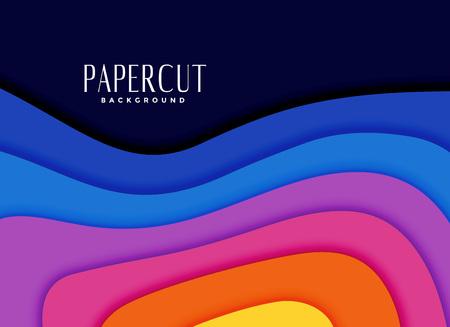 vibrant rainbow colors papercut background Ilustração