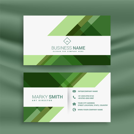 green abstract business card design