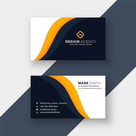 awesome yellow business card template  イラスト・ベクター素材