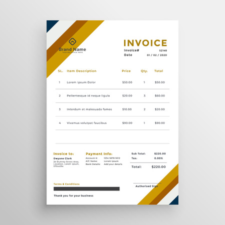 professional clean invoice template design
