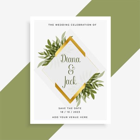 elegant wedding card design with frame of leaves Vector Illustratie