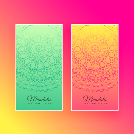 colorful mandala design vertical cards Stock Vector - 107945818