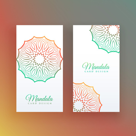 white card with colorful mandala decoration Stock Vector - 107945819