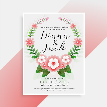 beautiful floral wedding card invitation design Illustration