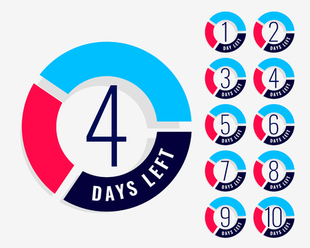 countdown timer showing number of days left Ilustrace