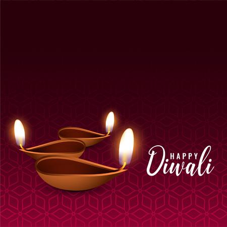 glowing diwali festival diya background