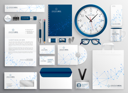 business stationery set in wireframe diagram