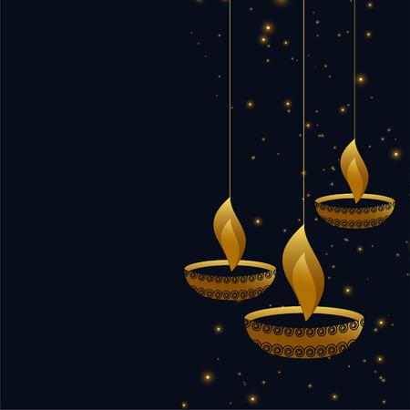 hanging diwali diya on dark background Vector Illustration
