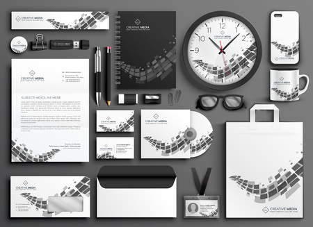 abstract black and white business stationery set Vektorové ilustrace