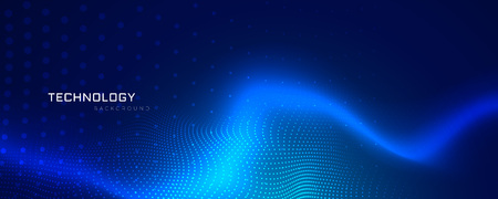 abstract blue technology banner design Vectores