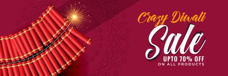 crazy diwali sale banner template Illustration
