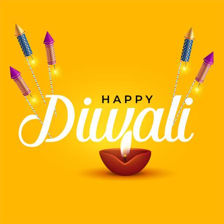 happy diwali elegant design with diya and rocket cracker