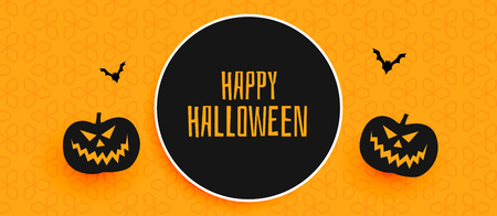 happy halloween banner design with pumpkin and flying bats Illustration