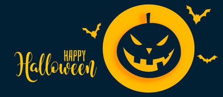 stylish happy halloween banner with pumpkin and ghost
