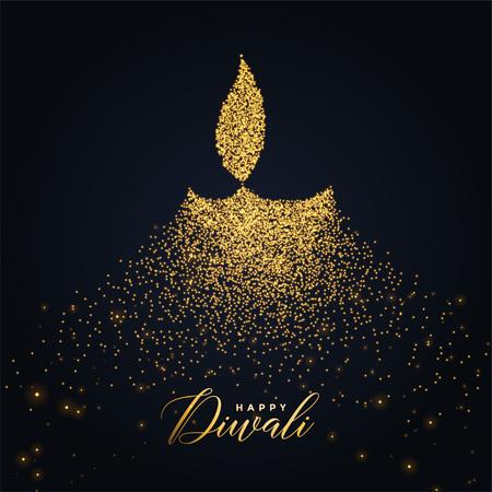Happy Diwali Diya Design mit leuchtenden Partikeln
