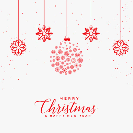 lovely merry christmas white card with red snowflakes balls Vector Illustration