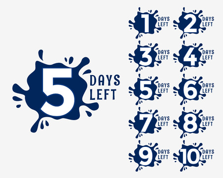 number of days left in ink drop effect style Illustration