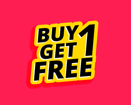 buy one get one free sticker label design Иллюстрация