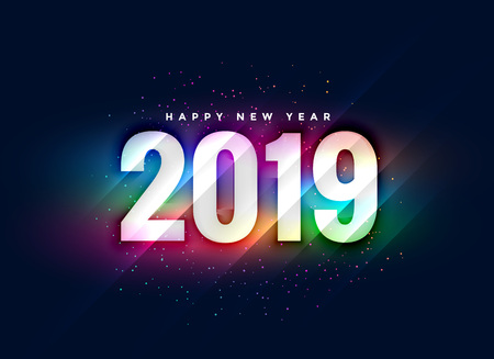 2019 colorful shiny new year background Illustration