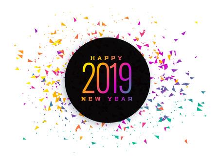 2019 celebration colorful confetti background Ilustração