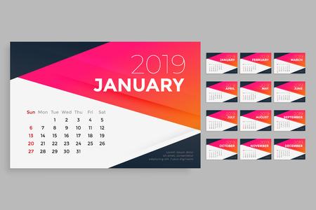 modern 2019 calendar design template Stock Illustratie