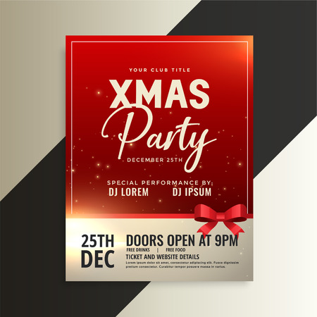 red christmas party flyer with shiny ribbon Illustration