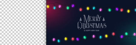 merry christmas banner with lights and image space Illustration