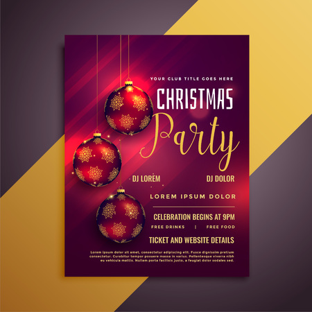 lovely christmas party flyer with balls and beautiful glows Illustration