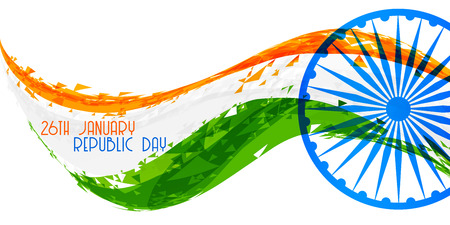 abstract indian republic day flag banner design Illustration