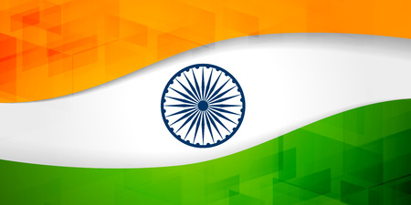 indian flag banner with geometric pattern Illustration