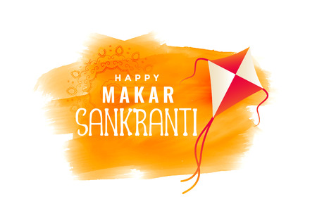 makar sankranti watercolor banner with flying kite