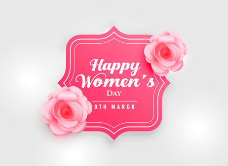 fond de fête de la femme heureuse avec fleur rose rose