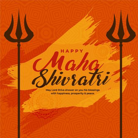 illustration of maha shivratri festival with trishul