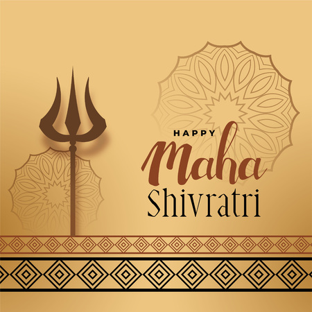 festival greeting for maha shivratri with trishul