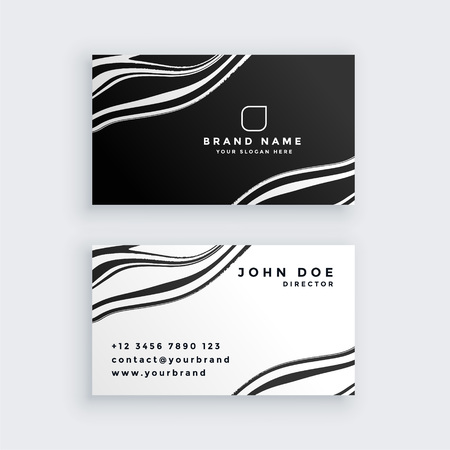 black and white marble business card design Illustration