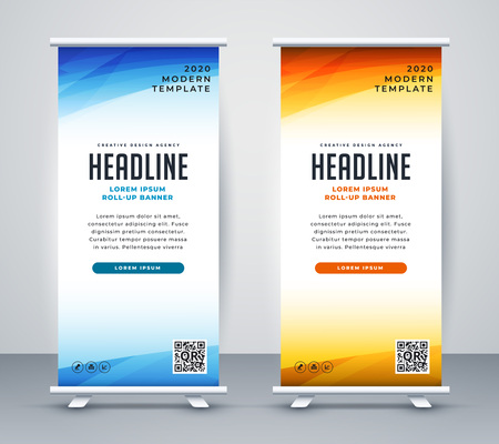 professional roll up stand banner template design Vetores