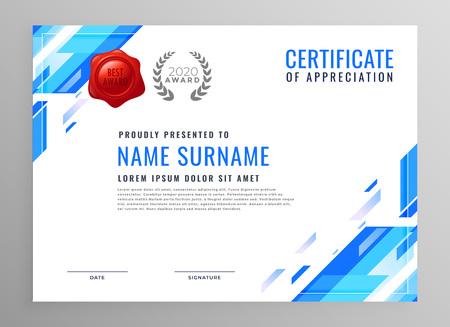 blaues modernes Business-Zertifikat-Design Vektorgrafik