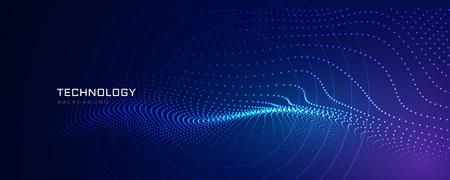 テクノロジー粒子ラインデジタル背景 ベクターイラストレーション