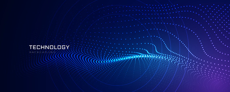 Technologiepartikellinien digitaler Hintergrund Vektorgrafik