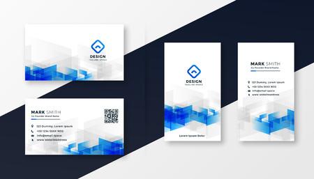 Conjunto de plantillas de tarjetas de visita blancas y azules abstractas Ilustración de vector