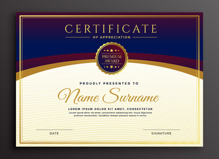 elegante plantilla profesional de diseño de certificado