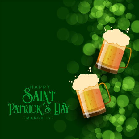 st patricks day green bokeh background with beer mugs Illustration