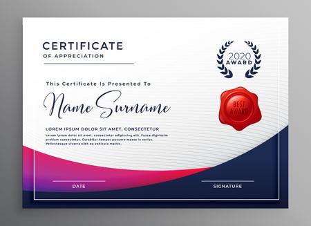 company certificate template elegant design Vektorgrafik