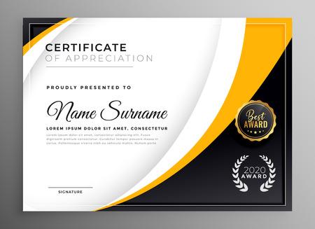 plantilla de certificado profesional diseño de premio de diploma