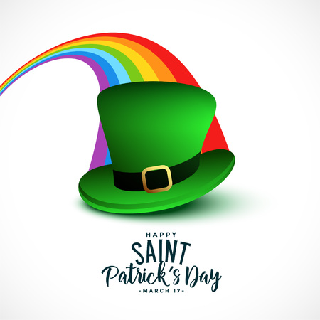 stylish saint patricks day background with rainbow and cap