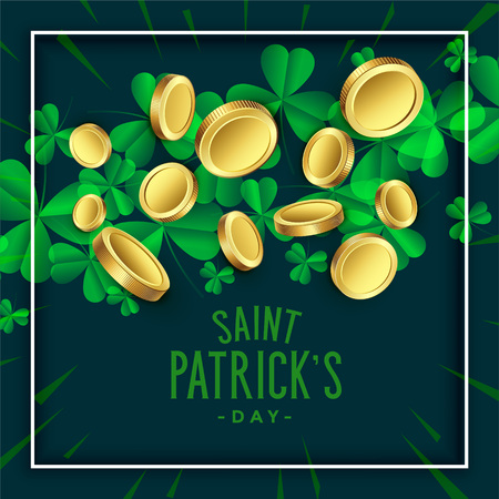 clover leaves with golden coins for st patricks day