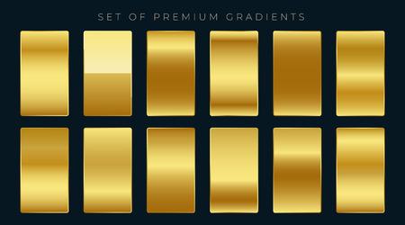premium set of golden gradients  イラスト・ベクター素材