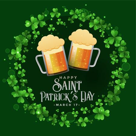 saint patricks celebration patry with beer mugs background Illustration