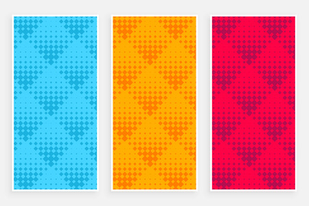 abstract halftone pattern banners in different colors Illustration